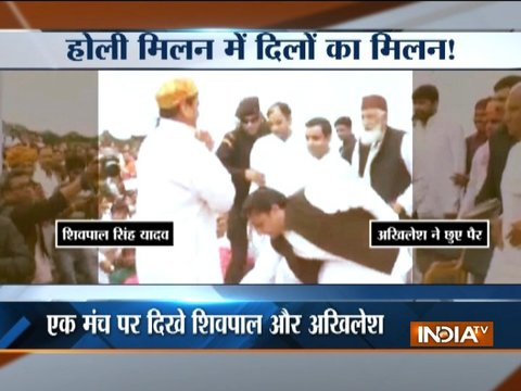 UP: Akhilesh Yadav seeks blessings of uncle Shivpal during holi celebrations in Saifai