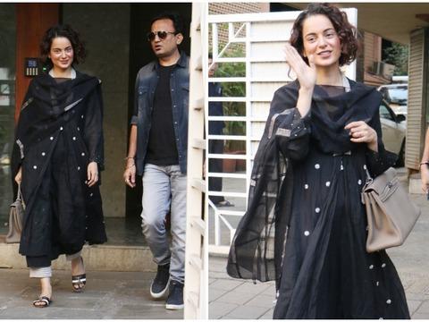 Manikarnika actress Kangana Ranaut stuns in black ethnic attire in these latest pictures