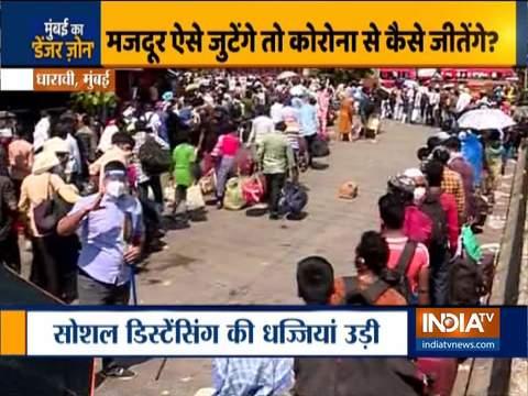 धारावी में मजदूरों की भारी भीड़, पीयूष गोयल की राज्य सरकार से अपील मजदूरों को स्टेशन तक पहुंचाए सरकार