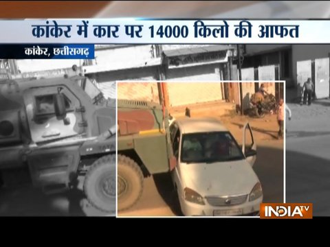 Chattisgarh: Army truck drags car with family inside (watch video)