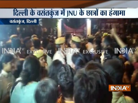 Students clashes with police as call to suspend JNU professor grows louder
