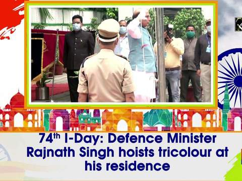 74th I-Day: Defence Minister Rajnath Singh hoists tricolour at his residence