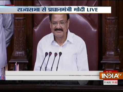 PM Modi welcomes Venkaiah Naidu in Rajya Sabha