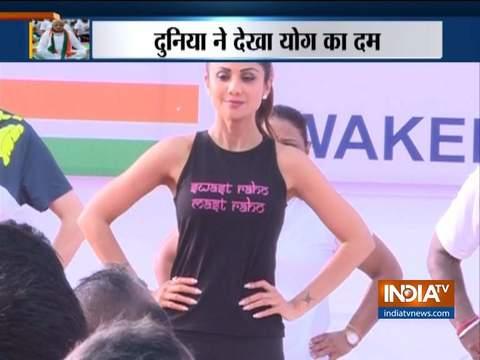 International Yoga Day 2019: Bollywood actress and Yoga enthusiast Shilpa Shetty performs Yoga in Mumbai