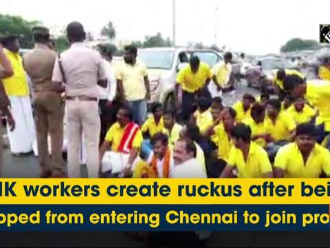 PMK workers create ruckus after being stopped from entering Chennai to join protest