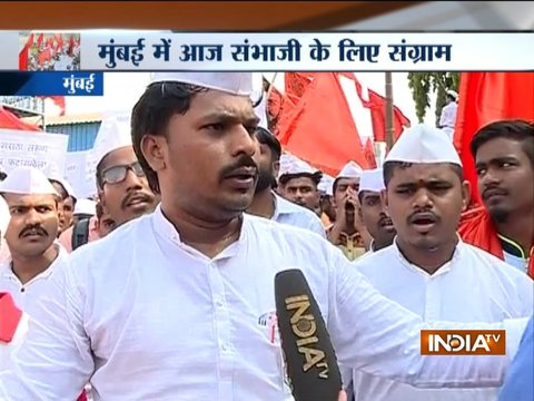 Protests in Mumbai's Azad Maidan in support of right-wing leader Sambhaji Bhide
