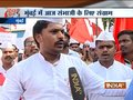 Protests in Mumbai's Azad Maidan in support of right-wing leader Sambhaji Bhide