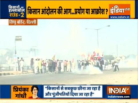 Farmers' protest: Tear gas used by Police to block agitators at Delhi - Haryana border