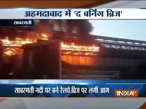 Ahmedabad: Railway bridge over sabarmati river catches fire