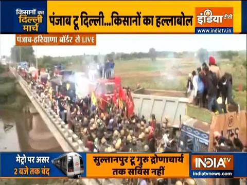 Farmers' protest: Police uses water cannons, tear gas to disperse protestors at Shambhu border