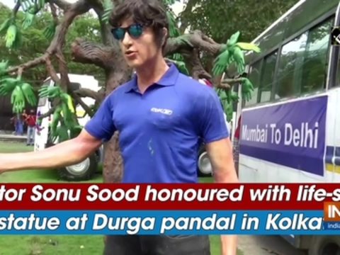 Actor Sonu Sood honoured with life-size statue at Durga pandal in Kolkata