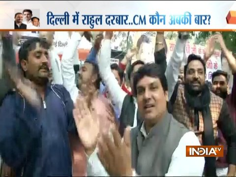 Supporters of Sachin Pilot gather outside All India Congress Committee headquarters in Delhi