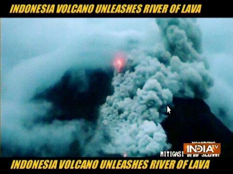 इंडोनेशिया में ज्वालामुखी में हुआ भीषण विस्फोट, बहने लगी लावा की नदी