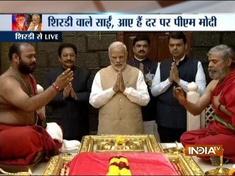 PM Modi in Shirdi: Prime Minister arrives at Sai Baba shrine, seeks blessings