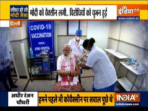 प्रधानमंत्री नरेंद्र मोदी ने लगवाई कोरोना वैक्सीन की पहली डोज