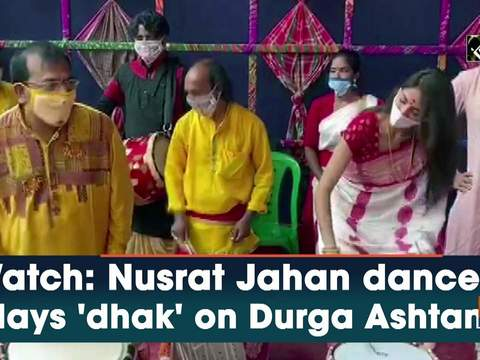 Watch: Nusrat Jahan dances, plays 'dhak' on Durga Ashtami