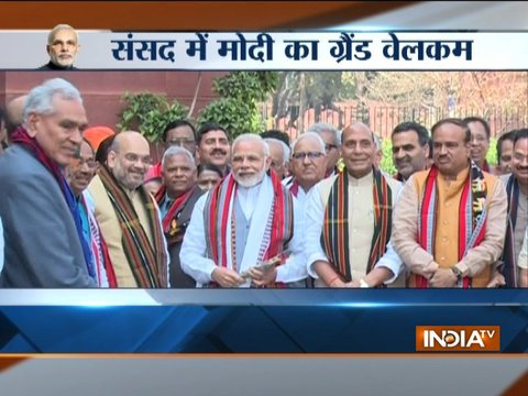 Budget Session: PM Modi arrives in parliament, welcomed by Amit Shah and Union Ministers