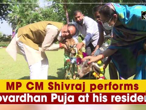 MP CM Shivraj performs Govardhan Puja at his residence