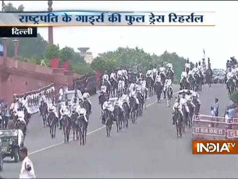 Rehearsal at Rajpath for President's swearing-in ceremony in Delhi
