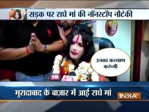 UP: Radhe Maa visits garment shops in Moradabad