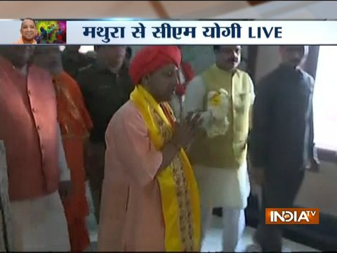 Uttar Pradesh CM Yogi Adityanath attends famous 'Lathmar Holi' in Mathura