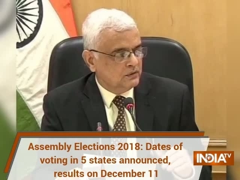 Assembly Elections 2018: Dates of voting in 5 states announced, results on December 11