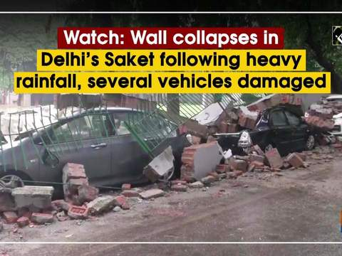 Watch: Wall collapses in Delhi's Saket following heavy rainfall, several vehicles damaged