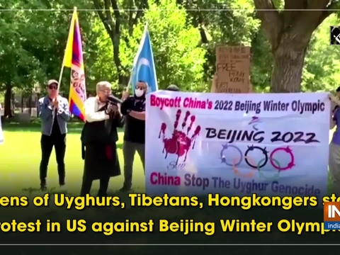 Dozens of Uyghurs, Tibetans, Hongkongers stage protest in US against Beijing Winter Olympics