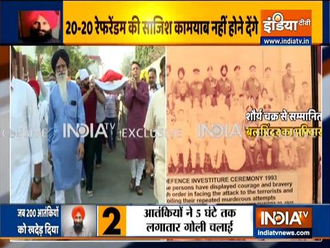 तरनतारन में शौर्य चक्र विजेता बलविंदर सिंह को अंतिम श्रद्धांजलि देने के लिए इकट्ठा हुए लोग