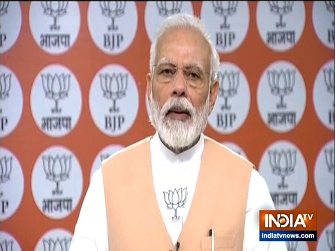 PM Modi addresses BJP workers on party 40th foundation day