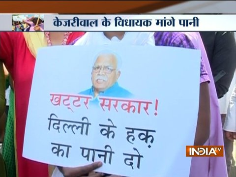 AAP MLA protest against Haryana Govt over Delhi water crisis