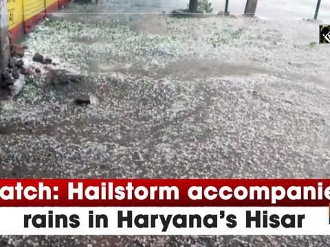 Watch: Hailstorm accompanies rains in Haryana's Hisar