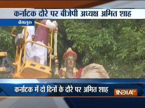 BJP president Amit Shah pays tribute to Lingayat philosopher Basaveshwara in Bengaluru