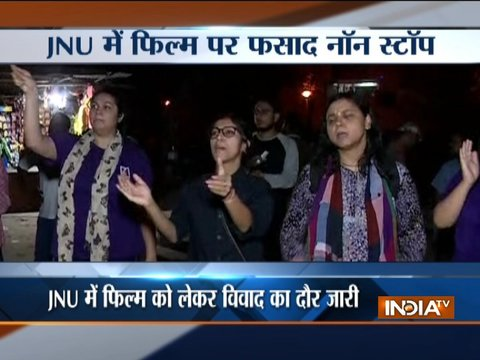 Students hold protest in JNU against screening of the film on 'Love Jihad'