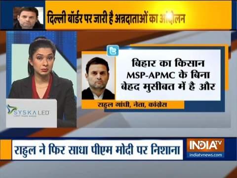 किसानों के विरोध प्रदर्शन को लेकर फिर राहुल गांधी ने साधा पीएम मोदी पर निशाना