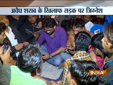 Jignesh Mewani protests against illegal liquor sale in Gujarat