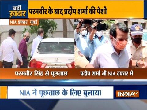 Mumbai: Former encounter specialist Pradeep Sharma arrives at NIA office for interrogation