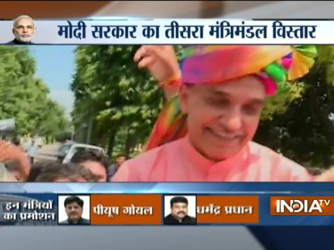 Celebrations at residence of BJP MP Satya Pal Singh after he took oath as minister