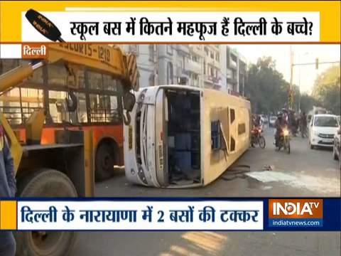 दिल्लीः नारायणा में क्लस्टर बस से टकराकर पलटी स्कूल बस, 6 बच्चे घायल