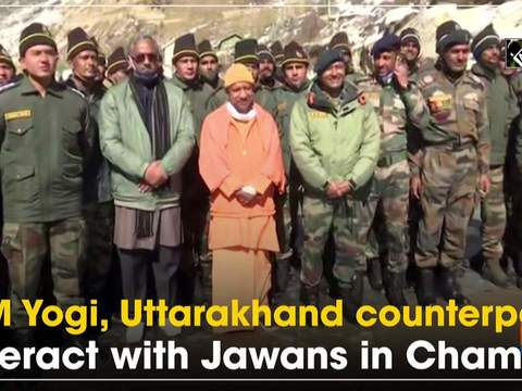 CM Yogi, Uttarakhand counterpart interact with Jawans in Chamoli