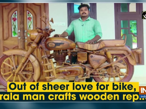 Out of sheer love for bike, Kerala man crafts wooden replica