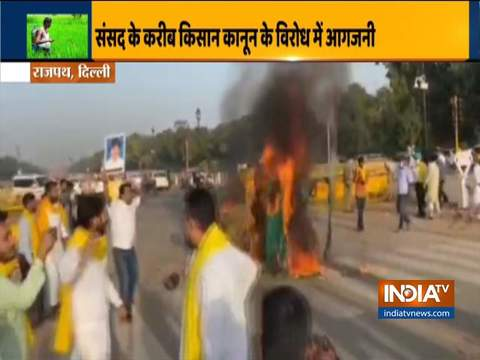 Delhi: Tractor set on fire at India Gate during protest against farm bills
