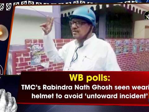 WB polls: TMC's Rabindra Nath Ghosh seen wearing helmet to avoid 'untoward incident'