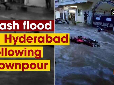 Flash flood in Hyderabad following downpour