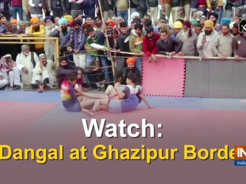 A match of Kabaddi was organised at Ghazipur border