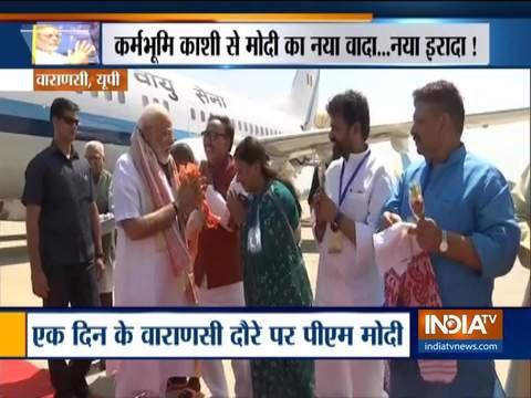 PM Narendra Modi lands in Varanasi