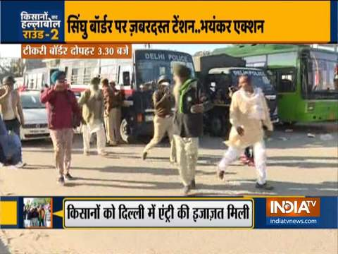 Police resort to lathicharge after protest by farmers turns violent at Singhu border