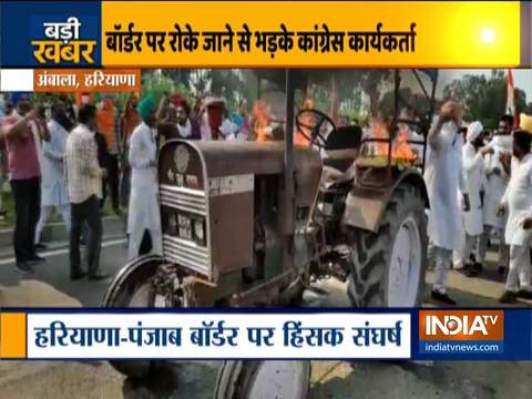 कृषि बिल: विरोध प्रदर्शन के दौरान युवा कांग्रेस कार्यकर्ताओं ने ट्रैक्टर को जलाया