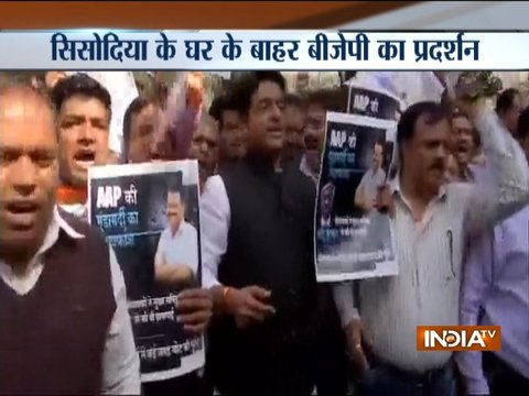 BJP workers protest outside Manish Sisodia's residence alleging attack in Delhi Secretariat