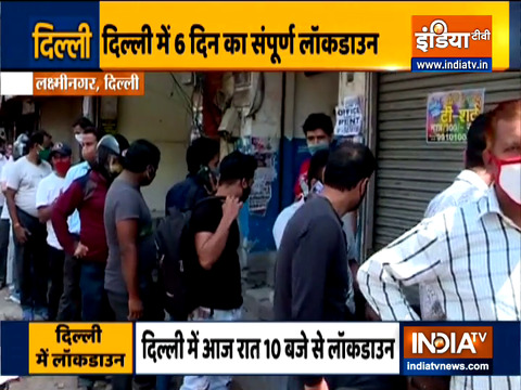 Coronavirus : 6-day lockdown in Delhi till next Monday, Long queues outside liquor shops